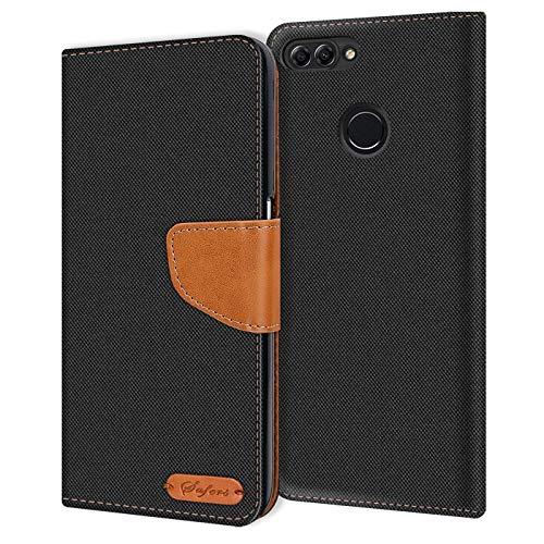 Verco P Smart Hülle, Schutzhülle für Huawei P Smart Tasche Denim Textil Book Hülle Flip Hülle - Klapphülle Schwarz