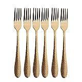 FDSJKD 6 unids Conjunto de flotware de Oro Postre Horquilla Multicolor Tenedor de Acero Inoxidable Cubiertos Cutlery Set Cocina Vajilla Sildeware Set (Color : Rose)