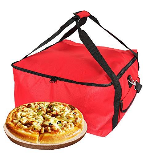 Sac à Pizza Sac à Transport Pizza Sac de Livraison Isotherme Pizza Nourriture en Tissu Oxford Sac Pique Nique Imperméable pour Transport Alimentaire 42x42x23cm(Rouge)