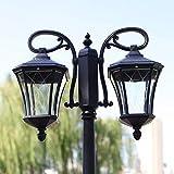 Pumnple Lanterna Light Glass alta Polo Paesaggio Street 2-Light IP55 impermeabile Outdoor Patio Prato lampada da terra d'epoca da giardino residenziale E27 Esterno Yard Deck Bollard Pilastro Lamp Blac