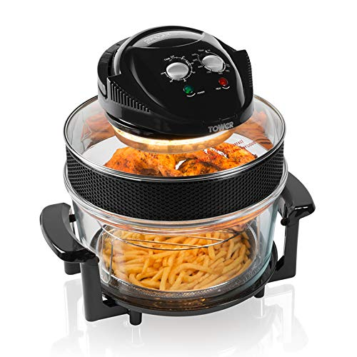 Tower T14001 Health Halogen Low Fat Air Fryer with Removable Glass Bowl, Extender Ring, Recipe Book, 1300W, 17 Litre, Black