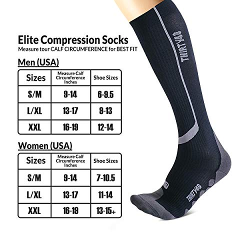 Thirty48 Graduated 20-30mmHg Elite Compression Socks for Performance & Recovery, Best for Running, Shin Splints (S/M (US Women 7-10.5 / US Men 6-9.5), [2 Pairs] Black/Grey & Blue/Grey)
