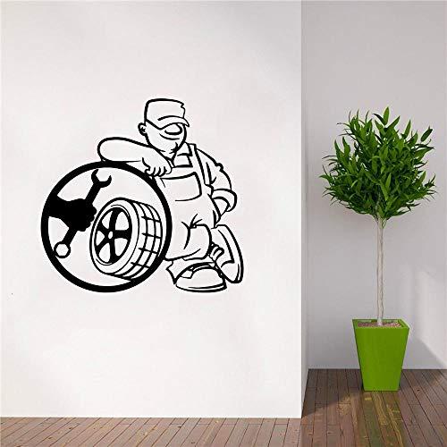 Divertido servicio de neumáticos pegatinas de pared habitación de los niños arte de la pared murales de elevación pegatinas de decoración de la pared de la sala de estar 57 cm × 59 cm
