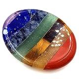 SHARKOOO Thumb Worry Stone for Anxiety,7 Chakra Crystals Healing Stones,Oval Chakra Worry Stone,Meditation Crystal