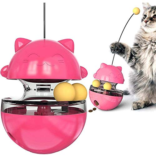 BATTU BestInteractiveCatToys Tumbler Leaking Food Ball with Teasing Wand,Slow Food Feeder Funny Cat Stick Toy for Cats Kitten Exercise Interactive Game (Red)