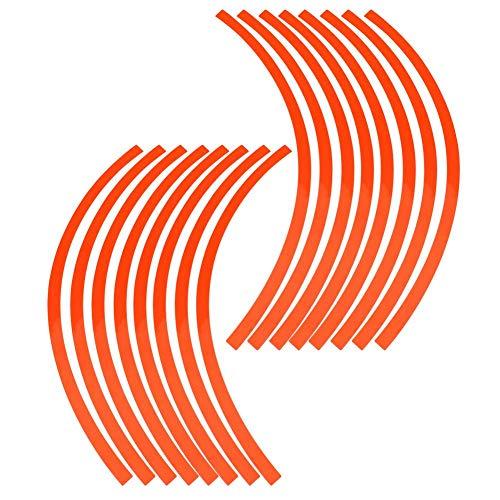 Elerose 16pcs Garniture de Décoration pour Ruban de jante à Rayures pour Roues, Roues de Voiture, de Vélo et de Mortier de 16 à 19 Pouces(Écarlate)