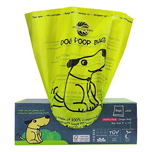 moonygreen Dog Poop Bag, Home Compostable Pet Waste Bags, Vegetable-Based Eco-Friendly, Unscented, Compostable, Extra Thick, Leak Proof, Size 9 x 13 Inches, 200 Count Single Roll