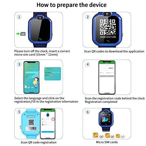 LDB Kinder Smartwatch Telefon, Wasserdicht Phone LBS Tracker Mikrochat SOS Taschenlampe Mathe Spiel Wecker Touchscreen (schwarz)