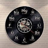 GVC Elemento químico LED Reloj de Pared con Registro de Vinilo periódico Reloj de Pared con Registro de CD Creativo Vintage Classroom Student Room Decor