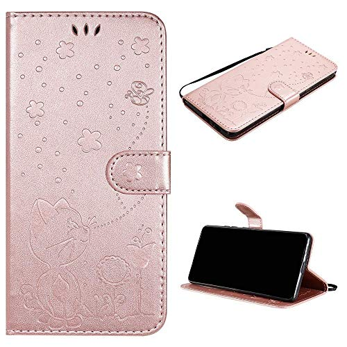 Cáscara para Apple iPhone 5/5G/5S/SE Funda Case PU Cuero Estampado Billetera Tapa del tirón Cáscara [MHMF-Oro Rosa]