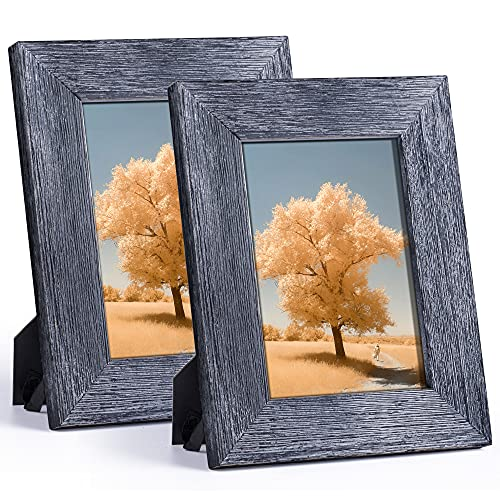 DLQuarts 5x7 Rustic Picture Photo Frames Pack of 2 Solid Wood with High Definition Glass for Table Top Display and Wall Hanging Weathered Black