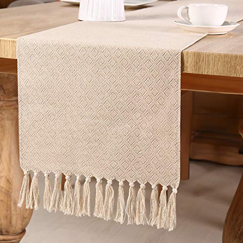 Vsadey Burlap Table Runner Farmhouse Table Runner Natural Jute Rustic Table Runners Woven Table Decor 13X72 Inches