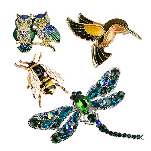 4 Pack Animals Crystal Brooches Pins, Fashion Animal rhinestone Wedding Prom Party Clothing Brooch, Rhinestone Scarf Pin, Costume Badge Small Gift (Ladybug + Five Little Birds + Frog + Cat)