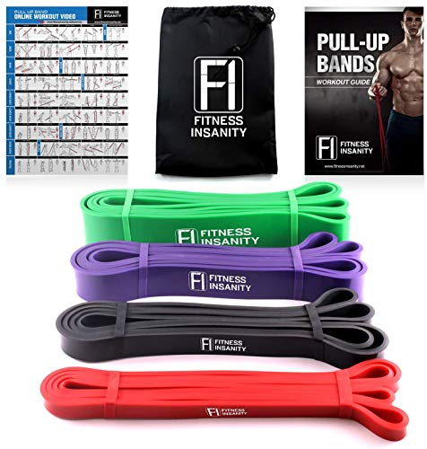 Fitness Insanity Pull Up Assistance Bands – 4-Piece Resistance Bands – Mobility and Powerlifting Exercise Bands – Perfect for Weights, Dumbbells, Body Stretching, Powerlifting and Resistance Training