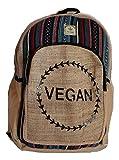 HIMALAYAN Mochila de cáñamo para la escuela, viajes, ocio, al aire libre – con compartimento para portátil, estampado hecho a mano en Nepal – Modelo vegano 134