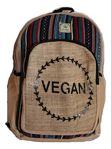HIMALAYAN Hanf Rucksack, Hanf Tagesrucksack/Daypack für Schule, Reise, Freizeit, Outdoor – mit Laptopfach, mit Aufdruck, Motiv, handgemacht in Nepal – model vegan 134