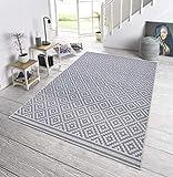 bougari In- und Outdoor Teppich Raute Grau Creme, 200x290 cm