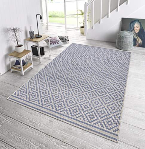 bougari In- und Outdoor Teppich Raute Blau Creme, 160x230 cm