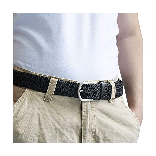 Rzting Men Belts, Elastic Braided Stretch Belt with Covered Leather Buckle, for Men and Women …