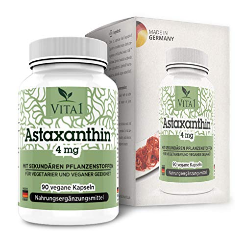 VITA1 Astaxanthin 4mg • 90 Kapseln (3 Monate Vorrat) • Glutenfrei, vegan, koscher & halal • Hergestellt in Deutschland