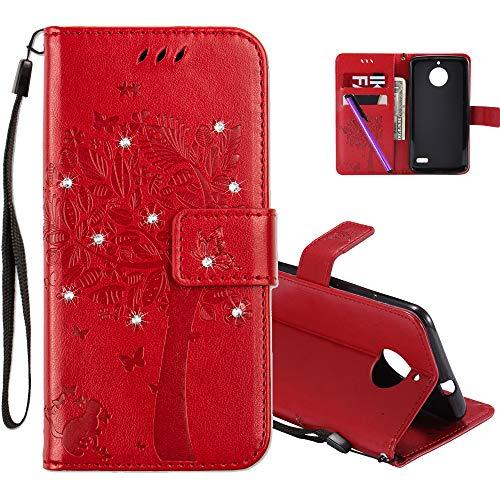 COTDINFOR Motorola E4 Hülle Elegant Retro Premium PU Leder Flip Bookcase Handy Tasche mit Magnet Standfunktion Schutz Etui für Motorola Moto E4 Red Wishing Tree with Diamond KT.