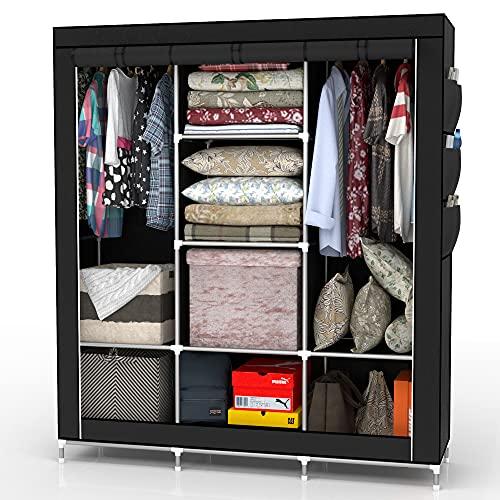 INTIRILIFE Faltschrank 130x175x45 cm in Raben SCHWARZ - mit Reißverschluss Stoffschrank Kleiderschrank mit Kleiderstange, Fächern und Seitentasche - Camping Steckschrank Textil Garderobe