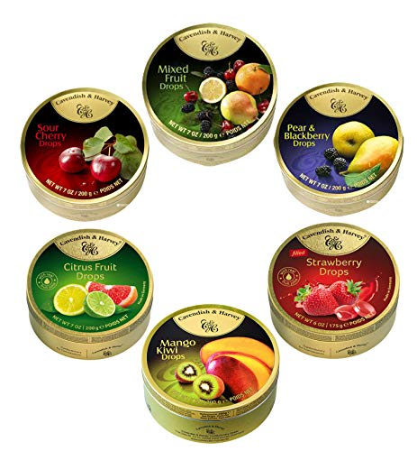 Cavendish & Harvey Hard Candy Drops Assorted Fruit Flavors, 6.17 Ounce (Pack of 6)