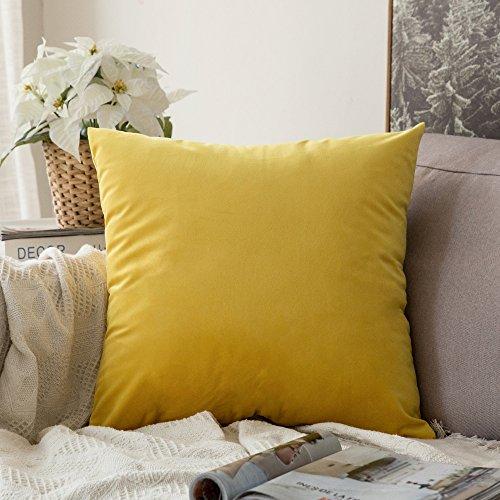 MIULEE Terciopelo Suave Funda de Cojín Decorativo Cuadrado Manta Funda de Almohada para Sofá Dormitorio Coche con Cremallera Invisible, 16'x16',40x40cm,1 Pieza Amarillo Limón