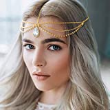 A&C Boho Crystal Head Chain Gold Sparkly Rhinestone Headpiece Layered Adjustable Headband Accessories Jewelry for Women and Girls
