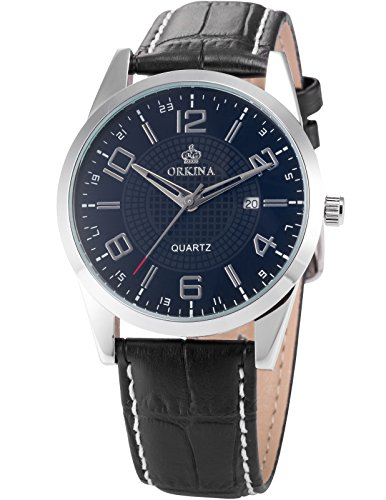 Orkina Mens Boyfriend Black Silver Date Sport Quartz Leather Wrist Watch Gift ORK057