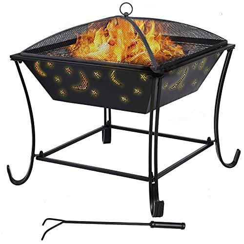 femor Feuerschale mit Grillrost Ø 61cm Multifunktional Fire Pit für Heizung/BBQ Grill,Feuerkorb mit Funkenschutzgitter Schürhaken & Kohlerost, Feuerstelle für Den Garten Strand Terrasse
