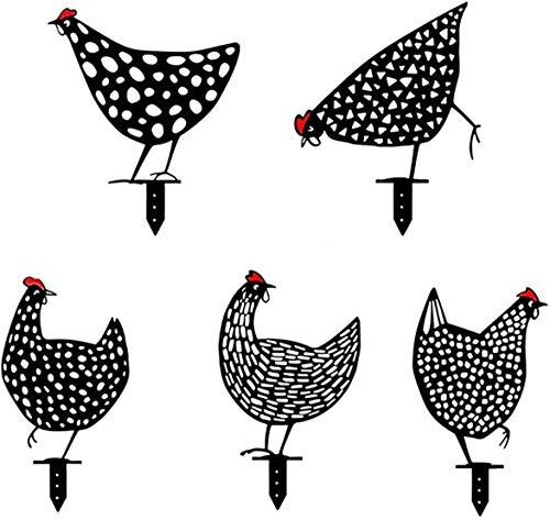 MKDASFD Yard Chicken Art–Figura de jardín de Metal,5 uds,Estatua De Pollo Metal Rooster Decor,Decoración De La Estatua De La Gallina Realista,Decoración De Forma Animal