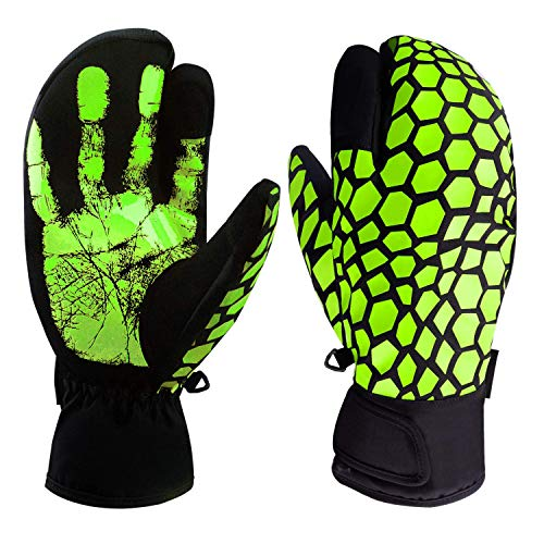boildeg Skihandschuhe,Herren Ski Snowboard Handschuhe Wasserdicht Warm Winterhandschuhe Winddicht (Gelb, S)