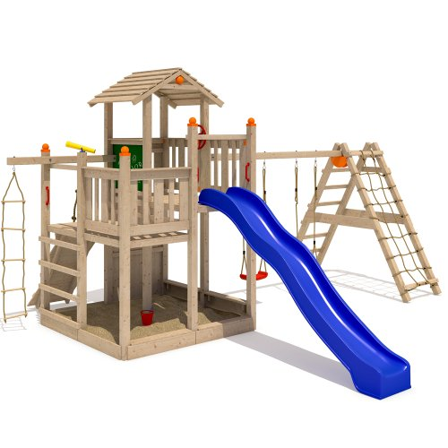 ISIDOR Fluppy Flu Spielturm Kletterturm großer Sandkasten Rutsche 2 Schaukeln (erweiterter Schaukelanbau)
