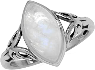 Silvershake 14X7mm Natural Marquise Shape Moonstone 925 Sterling Silver Filigree Solitaire Ring