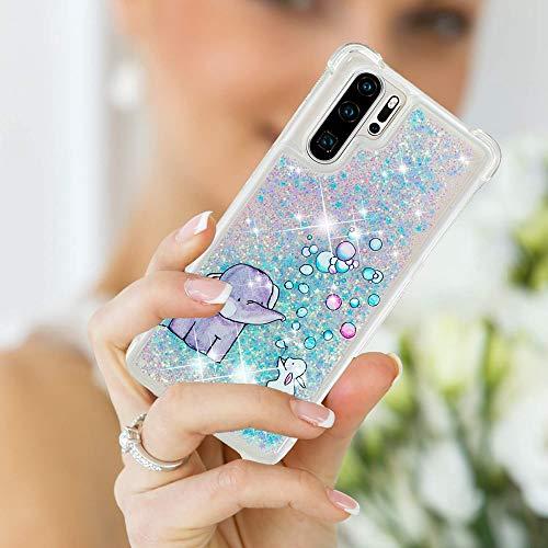 Misstars Glitzer Flüssig Hülle für Huawei P30 Pro, Bling Sparkle Treibsand Handyhülle Transparent mit Muster Elefant und Hase Design Weich TPU Silikon Stoßfest Schutzhülle - 3