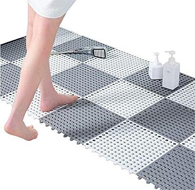 24pcs Interlocking Rubber Floor Tiles with Drain Holes DIY Size 11.8 x 11.8 in Splicing Bathroom Shower Non-Slip Floor Tiles Mat - White