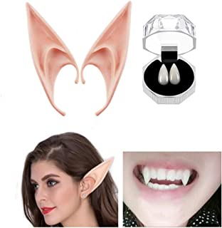 Cosplay Vampire Fangs Teeth Elf Ears Set for Halloween Party, 15mm Props Zombie Tooth with Adhesive, Fairy Pixie Soft Ear, Anime Cosplay Costume Party Dress Up Accessories