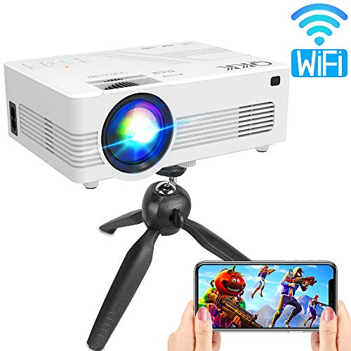 QKK Upgraded 3600Lumens WiFi Projector, Full HD 1080P Supported Mini Projector [Tripod Included], Synchronize Smartphone Screen by WiFi/USB Cable, Phone/HDMI/AV/USB/TF/Sound Bar/TV Stick Supported