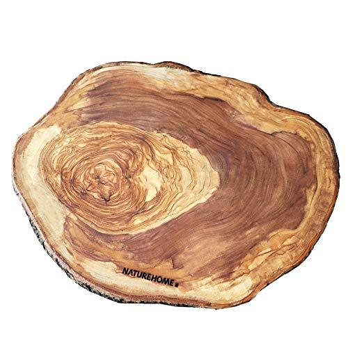 NATUREHOME Baumscheibe Olivenholz 30 cm dekoratives Rindenbrett Untersetzer oder Schneidebrett für Küche Esszimmer und im Wohnbereic