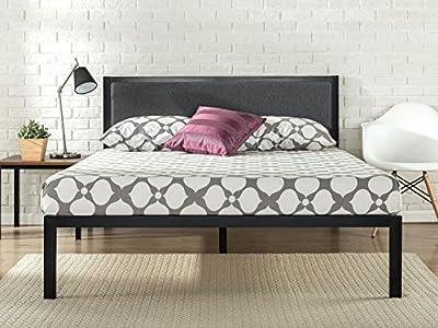 La cama de plataforma con armazón de acero y cabecero tapizado en color gris Korey de cuenta con listones de madera que proporcionan un soporte sólido para tu colchón de espuma viscoelástica, látex o muelles. Tiene una altura de 35,6cm y 30,5cm de ...