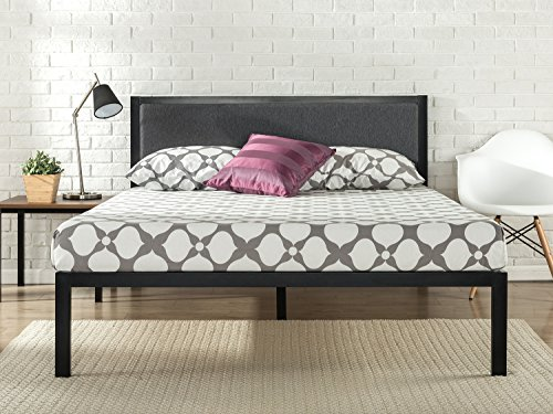 Zinus Korey 14 Inch Platform Metal Bed Frame with Upholstered Headboard / Mattress Foundation / Wood Slat Support, Queen