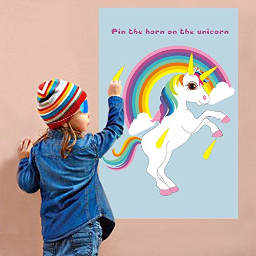 OurWarm Pin The Horn on The Unicorn Party Game for Kids Birthday Party Decorations, Rainbow Unicorn Party Supplies