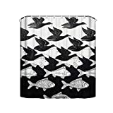 Noick MC Escher Sky and Water I 1938 Artwork for Posters Boutique Shower Curtain Hooks Polyester Home Decor 72x80Inch