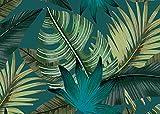 Deco&Fun - Alfombra Vinílica Nature Tropical Azul 50x70cm - Alfombra PVC Alfombra...