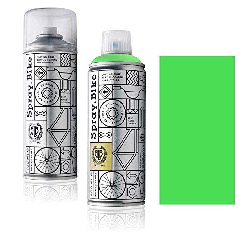 Fahrrad Lackspray in NEON Farben - KEINE GRUNDIERUNG notwendig - Acryllack/Lack Spray in 400 ml Spraydose, Matt- und Klarlack Optik möglich (Klarlack Set, Neon Grün)