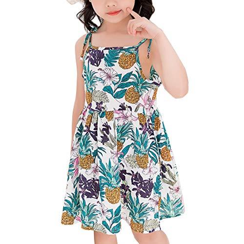 Vestido de Verano para Bebe Niñas Casuales Algodón Infantil Sin Mangas Chicas Ropa Flores 0 a 4 años