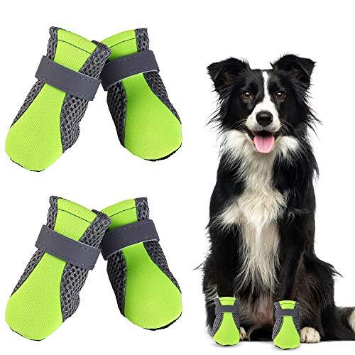 WELLXUNK® Botas para Perros, Respirable Zapatos Antideslizantes para Perros, Mascota Perro Botas para Perros Medianos y Grandes (4pcs) (Verde)