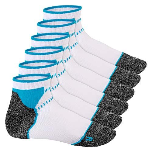 Footstar Damen & Herren Funktions Sport Socken (6 Paar), Gepolsterte Laufsocken - Weiss-Blau 35-38