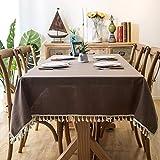 XQSSB Mantel para Mesa de Cocina o Salón Hojas Rectangular Cotton Linen Lightweight Impermeable Lavable Diseño de Comedor Decoración del Hogar Brown 140 × 200cm